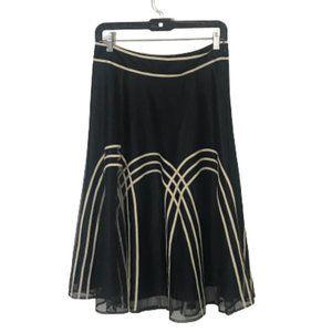 LOFT NWT Art Deco Tulle Skirt Black Cream Midi 4